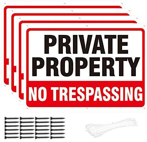 4-Pack Metal No Trespassing Signs Private Property 10 x 7 inch Rust Free 0.04 Aluminum - UV Printed, Reflective, Weatherproof, Easy to Read & Mount, Sturdy - Outdoor Keep Out Sign for Home, Safety