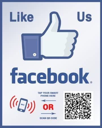 Like Us on Facebook Sticker - Touchless QR Code and NFC Tag - Two-Sided Social Media Storefront Window Decal - Custom Designed for Facebook