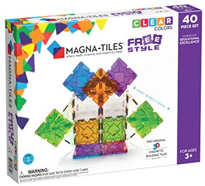 Magna-Tiles Freestyle Set, The Original Magnetic Building Tiles For Creative Open-Ended Play, Educational Toys For Children Ages 3 Years + (40 Pieces)